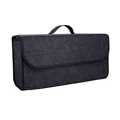 zanasta Kofferraum Tasche Filz | Klett Auto-Organizer Kofferraumtasche Aufbewahrungsbox KFZ, Grau