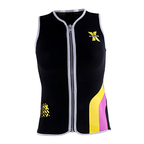Baoblaze Women's 3MM Neoprene Wetsuit Top Water Sports Scuba Surfing Swimwear Jumpsuit Front Zip Sleeveless Diving Vest - Black, M