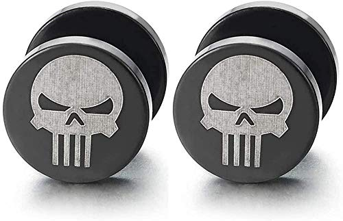 NC188 2 Mens Silver Black Punisher Skull Stud Earring Steel Cheater Fake Ear Plugs Gauges Illusion Tunnel