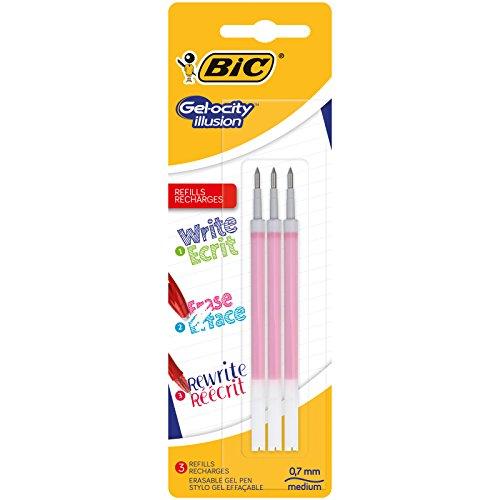 BIC Gel-ocity Illusion Recambios para Bolis de Gel Borrables punta media (0,7 mm) – Rojo, Blíster de 3 unidades