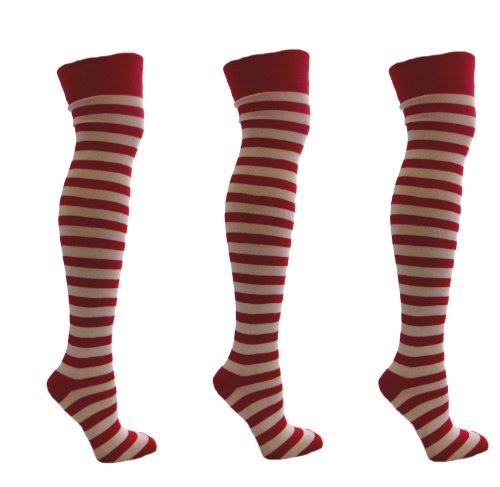 Aler 3 Paar Red und White Stripey über den Knie-Socken Größe 35-41 07.04 EUR