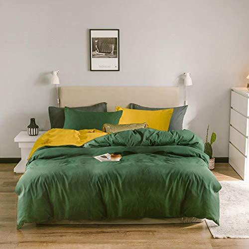 Nyescasa Dunkelgrün Gelb Bettwäsche 135x200 4 Teilig Grün Gelb Uni Unifarben Wendebettwäsche Weiche Mikrofaser Doppelbett Bettbezug mit Reißverschluss und 2 Kissenbezug 80x80 cm