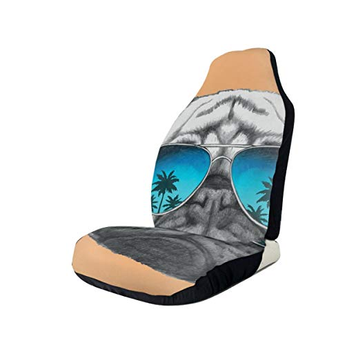 Jiger Seat Covers Vehicle Protector Car Mat, Dog with Reflecting Aviators Palm Trees Tropical Environment Cool Pet Animal, Past op de meeste auto's, Sedan, Truck, SUV 2 PCS Multi-coloured