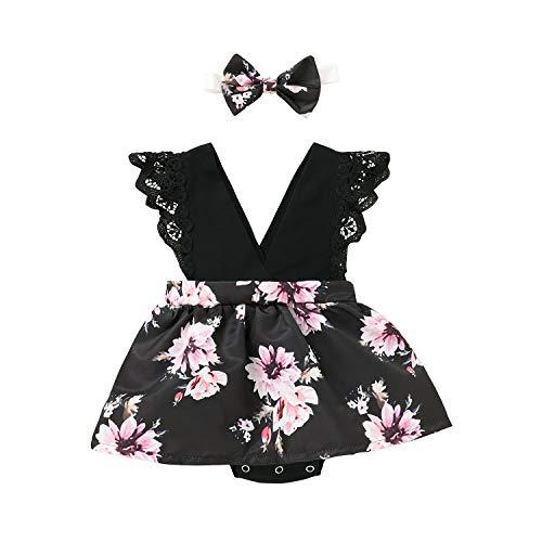 L&ieserram Ropa 2 piezas de diadema + body de flores para bebé como falda estampada crisantamo o girasol de manga corta con encaje para niña, primavera, verano y otoño Rosa 18-24 Meses