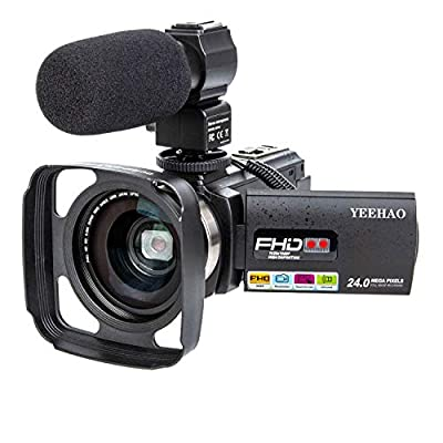 Camcorder Video Camera YEEHAO WiFi HD 1080P 24MP 16X Powerful Digital Zoom Camera with Microphone and Wide Angle Lens Remote Control Lens Hood Infrared Night Vision YouTube Vlogging Camera Recorder by YEEHAO