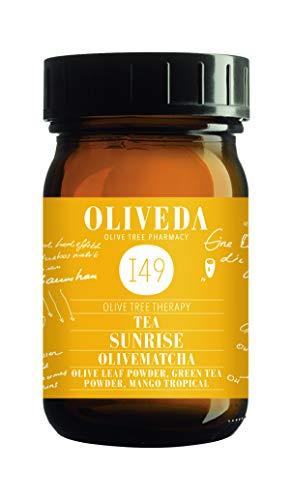 Oliveda I49 - OliveMatcha Sunrise - Olivenblatt Tee Pulver mit japanischen Matcha | Hibiskusblüten - 30 g