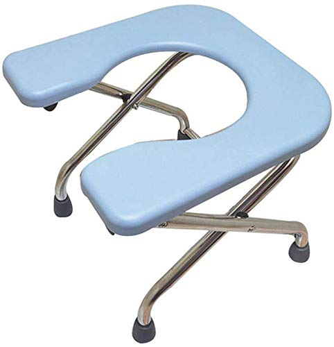 FREIHE Draagbare toiletbril, stoel voor volwassenen, opklapbare bedstoel, roestvrij stalen beugel, antislipmat, 330 lbs, blauw