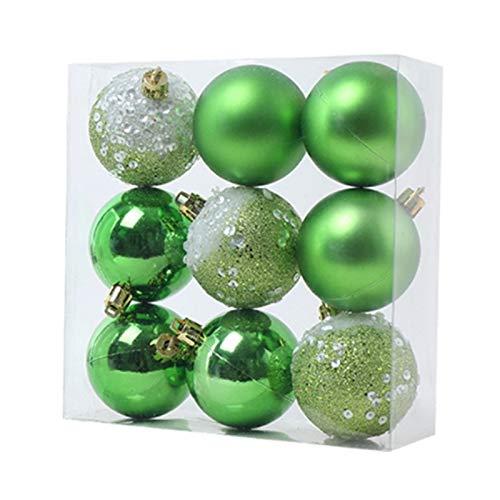 Baalaa 9 adornos de bolas de Navidad, decoración de árbol de Navidad, bolas colgantes para el hogar, Año Nuevo, decoración de fiesta, 6 cm, verde