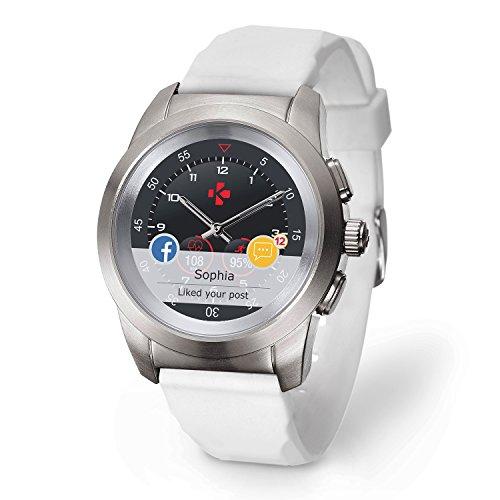 MyKronoz ZeTime Original Reloj Inteligente híbrido con Agujas mecánicas sobre una Pantalla a Color táctil – Regular Cepillado Plateado/Silicona Blanca