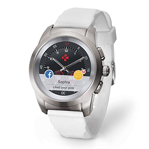 MyKronoz ZeTime Original Hybrid Smartwatch 44mm with mechanical hands over a color touch screen – Regular Matt Silbern / Weiß Silikon Glatt