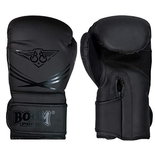 BOOM Prime Boxhandschuhe schwarz matt Leder 10 oz 340 g 397 g 453 g Handschuhe für Training Sparring Muay Thai Kickboxen Boxsack Handschuhe MMA Boxhandschuhe für Männer und Frauen (16 oz)