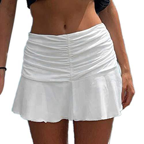 Women Pleated Mini Skirt Solid High Waist A Line Tennis Skirts Sexy Ruffle Short Skirts Y2k Skirt White