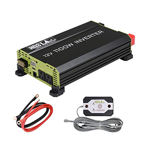 HQST 1100 Watt Power Inverter 12V DC to 120V AC Converter with Dual AC Outlets 5V 1A USB,for Car RV, Truck, Yacht, and Off Grid Solar Power System