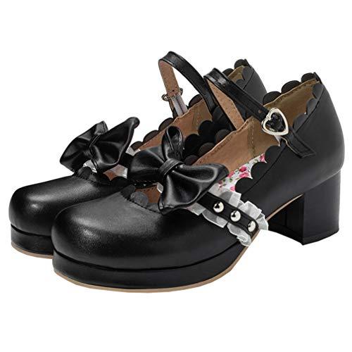 Mary Jane Damenschuhe Pumps mit Blockabsatz und Riemchen 5cm Absatz Schleife Rockabilly Schuhe(Schwarz,42)