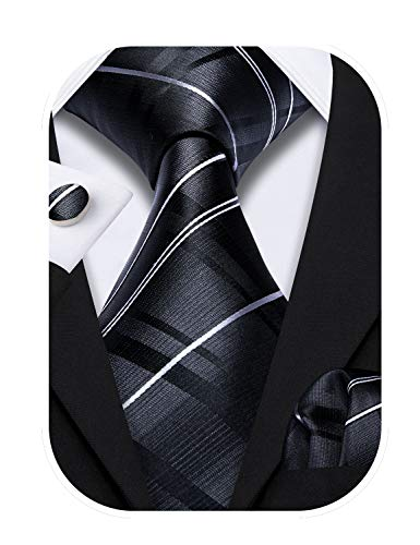 Barry.Wang Black Stripe Tie Set Handkerchief Cufflinks Business Neckties for Men Woven