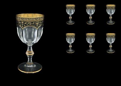 Exclusive Bohemia Cristal copas de vino Flora's Dream 170 ml con decoración oro negro