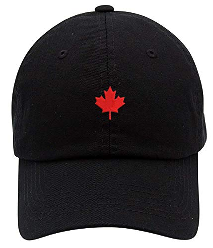 Canada Maple Leaf Logo Embroidered Low Profiel Soft Crown Unisex Baseball Dad Hat Black