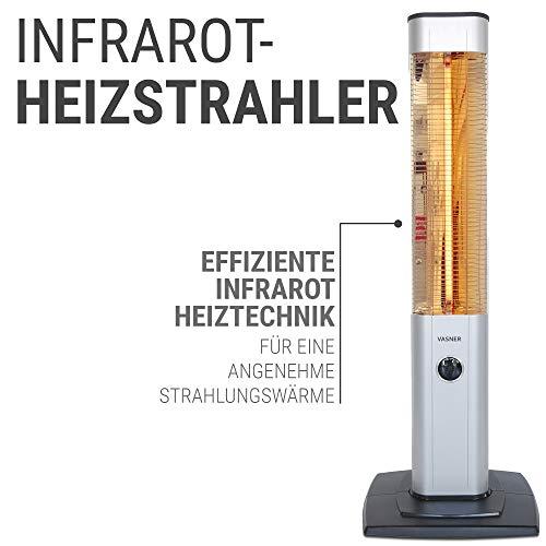 VASNER StandLine 25R | Stand-Heizstrahler Infrarot 2500 Watt – Silber grau – Fernbedienung Bild 4*