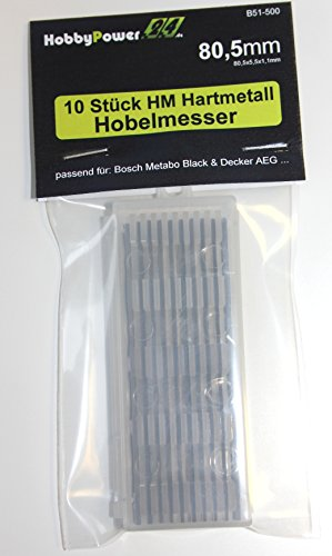 10 Stück HM Hartmetall Hobelmesser 80,5mm für Hobel Elektrohobel ELU MFF40 / MFF80 / PF161