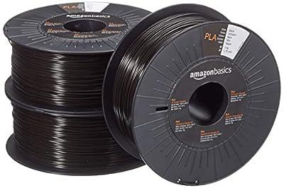AmazonBasics PLA 3D Printer Filament, 1.75mm, Black, 1 kg per Spool, 3 Spools