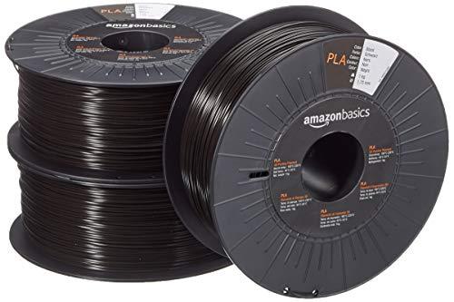 Amazon Basics Filament PLA pour imprimante 3D, 1,75mm, Noir, Bobine, 1kg, 3 Bobines