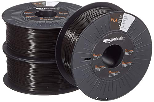 AmazonBasics 3D-Drucker-Filament aus PLA-Kunststoff, 1,75 mm, Schwarz, 1 kg pro Spule, 3 Spulen