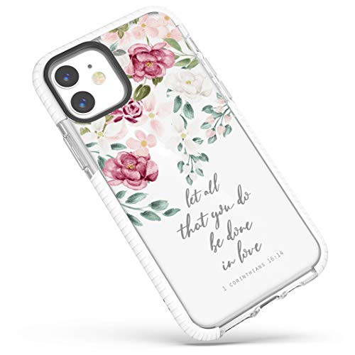 iPhone 11 Case,Red Pink Roses Pattern Inspirational Encouraging Scripture Bible Verses Christian Quotes Corinthians 16:14 Soft Protective Clear Design Case for Girls Women Compatible with iPhone 11