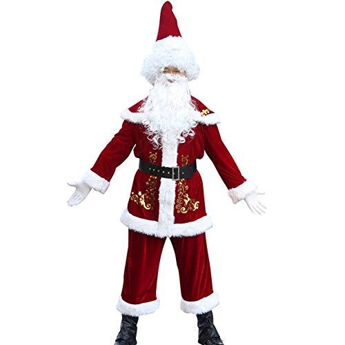47-B Disfraz de Santa Claus para adultos, terciopelo dorado de Papá Noel, actuaciones navideñas, ropa de trajes para hombre (color rojo, tamaño: XXXXXL)