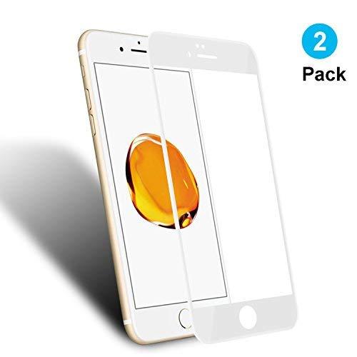 WEOFUN 2 Pièces iPhone 6 Plus 6s Plus Protection écran, 3D Incurvé Couverture Film Protection en Verre trempé pour iPhone 6 Plus 6s Plus 5.5'' (0.33mm, 9H, Blanc)