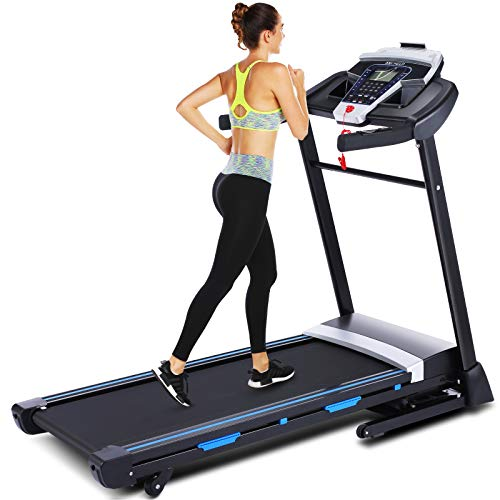 ANCHEER 3.25HP Folding Treadmill with APP Control, Electric Automatic Incline Treadmill with Bluetooth Speaker, Motorized Running Jogging Machine for Gym Home & Office Workout (Black)