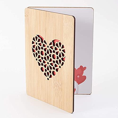 Geburtstagskarte frau Handgefertigte beschreibbare Bambuskarte mit Herz,Hochzeitskarte,Geschenkkarte,Weihnachtskarte,Einladung Karte Holz,Valentinstag Karte