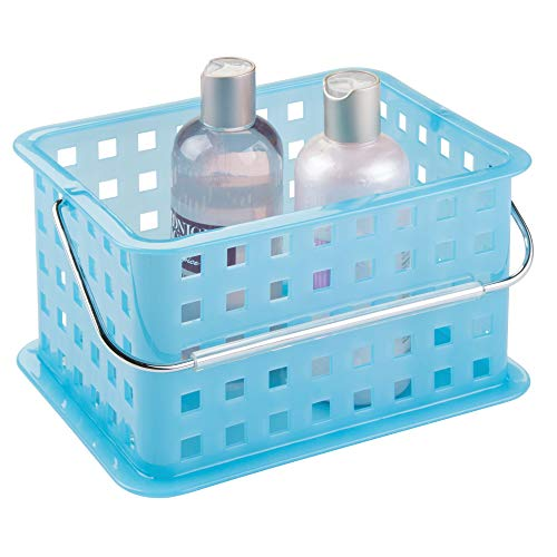 iDesign Plastic Storage Organizer Basket with Handle for Bathroom Health Cosmetics Hair Supplies and Beauty Products 53 x 88 x 69 Blue