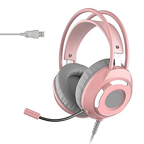 OYZY Casque De Jeu Câblé, 7.1 Surround Stéréo Noise Annulation sur L'oreille Écouteurs d'oreille avec Micro Mémoire Adaptée Aux Peaux PU Tasses d'oreille, Batterie Longue Durée Jusqu'à 30 Heures