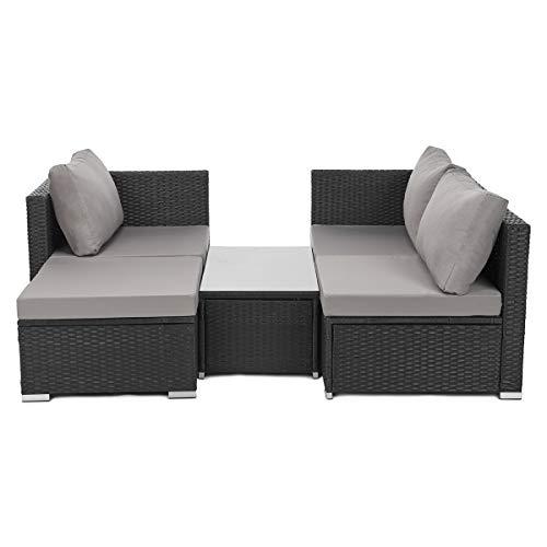 SVITA Queens Poly Rattan Sitzgruppe Couch-Set Ecksofa Sofa-Garnitur Gartenmöbel Lounge Schwarz, Grau oder Braun (Schwarz) - 4