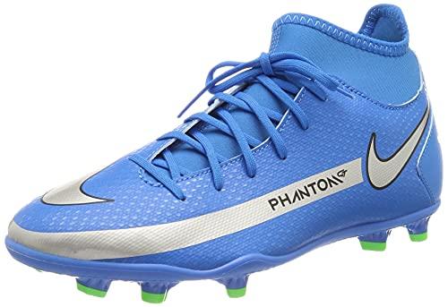 Nike JR Phantom GT Club DF FG/MG, Zapatillas de ftbol, Photo Blue Mtlc Silver Rage Green Black, 38.5 EU