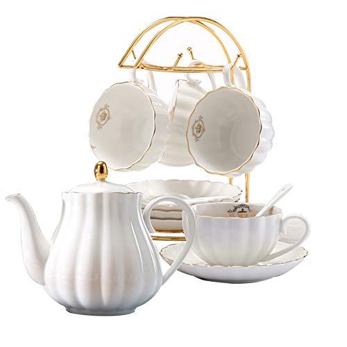 LIERAS Porseleinen Thee Koffie Sets met Theepot Theepotten 8 OZ Cups & Saucer Service voor 4 (Wit Set voor 4) Lily White