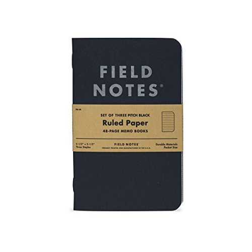 """Field Notes Pitch Black Notebook - 3-Pack - Small Size (3.5"""" x 5.5"""") - Ruled Paper"""