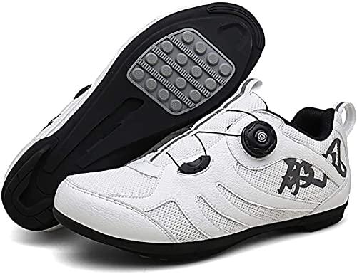 WYUKN Cycling shoes men women anti-skid breathable cycling shoes road shoes MTB shoes flat without click system,White-45EU