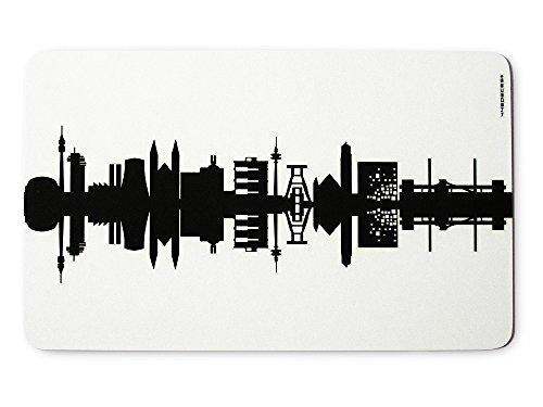 44spaces Original Ruhrpott Frühstücksbrettchen Skyline schwarz, Kleines Geschenk Design-Brett Melamin, spülmaschinenfest, 23,5x14,5cm
