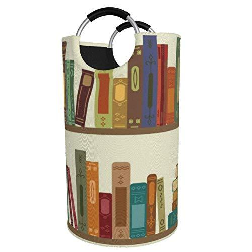 N\A 82l Large Laundry Basket, Cartoon Bookshelf Collapsible Fabric Laundry Hamper, Foldable Clothes Bag, Folding Washing Bin Storage Basket