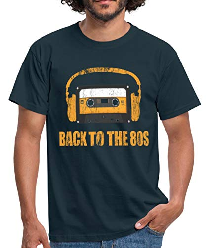 Spreadshirt Back to the 80s Cassette and Headphones T-shirt for Men, S to 4XL