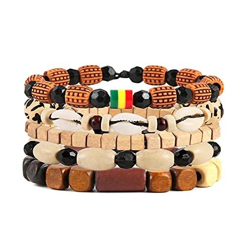 HZMAN Wrap Bracelets Men Women, Hemp Cords Wood Beads Ethnic Tribal Bracelets, Leather Wristbands (Shell Conch)