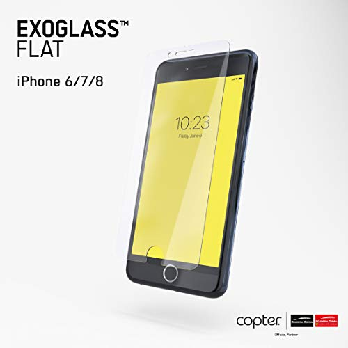 Preisvergleich Produktbild Copter Exoglass Flat Screen Protector Compatible with iPhone 6,  iPhone 6S,  iPhone 7,  iPhone 8,  Case-Friendly,  Double ION-Tempered Glass,  Fully Protective,  Self-Healing Technology