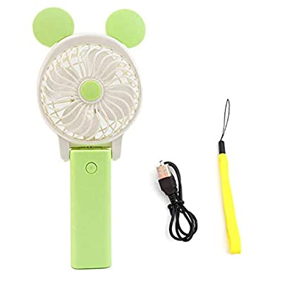 DeemoShop Portable Hand Fan USB Rechargeable Foldable Handheld Mini Fan Cooler with Strap Cartoon Cooling Fan for Outdoor Travel