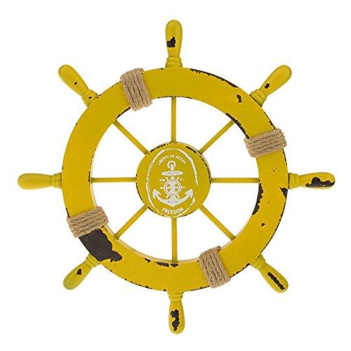 LIOOBO Steuerrad mit Anker Schiffssteuerrad Holz Wanddeko Maritime Deko Vintage Steuerrad Deko 28CM (Gelb)