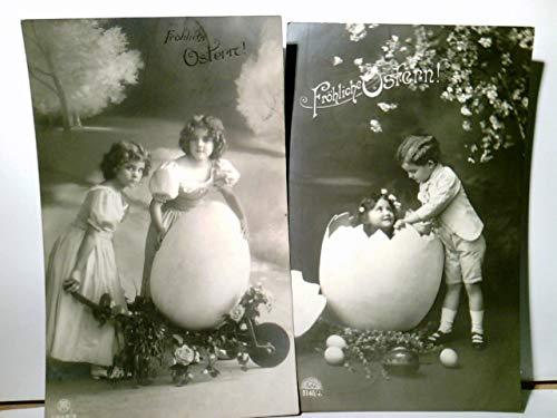 Fröhliche Ostern !. Set 2 x Nostalgische Glückwunsch AK s/w. gel. 1910 u. 1913. Kinder mit riesengroßem Osterei, Blumen, Schubkarre, Vintage, Nostalgie