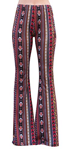 Daisy Del Sol High Waist Gypsy Comfy Yoga Ethnic Tribal Stretch 70s Bell Bottom Flare Pants (Small, Red/Yellow)