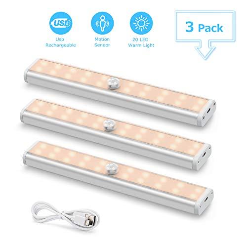Luz LED Armario con Sensor de Movimiento(3 pcs, 60 led), Fansteck USB Recargable Lámpara Inalámbrica con Cinta Magnética, Luces Nocturnas Portátil para Armario, Sótano, Pasillo. Luz amarrilla cálida