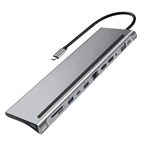 CGGA Portátil 12-C Tipo C HUB 4K Station Dual HDMI RJ45 Gigabit LAN PD PLAPTOP con TF/Salida Digital Tarjeta Slot USB HUB (Color : Silver)