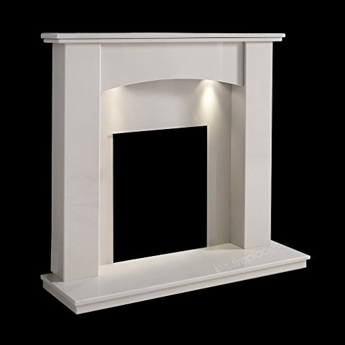 """White Marble Stone Monden Curved Surround Wall Gas Electric Fireplace Suite with Spotlights - 1"""" Rebate"""
